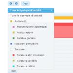 Cattura schermo del software per la taratura strumenti e manutenzione programmata