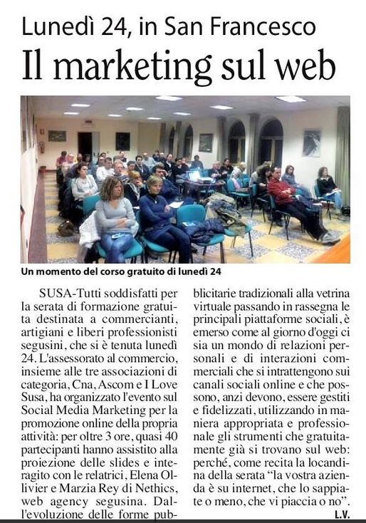 Serata formativa gratuita: social Media Marketing
