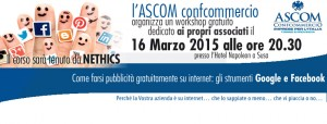 Locandina workshop ASCOM corso formaizone su facebook e google