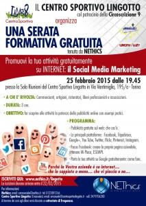 Locandina workshop Lingotto circoscrizione 9 Torino: corso formaizone su facebook e google