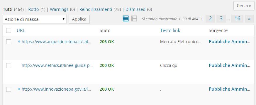 Strumento wordpress per testare i broken link
