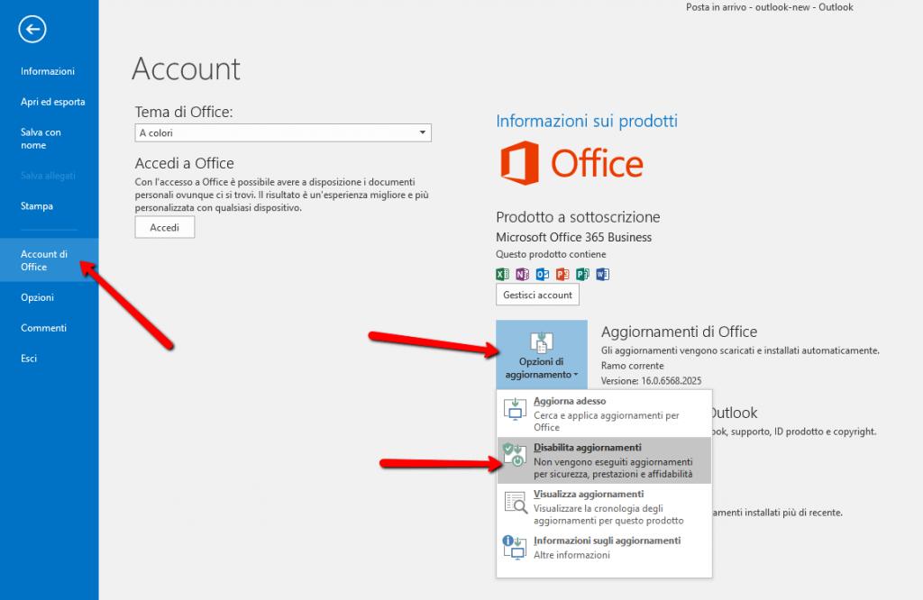 Impostazioni Outlook aggiornamenti