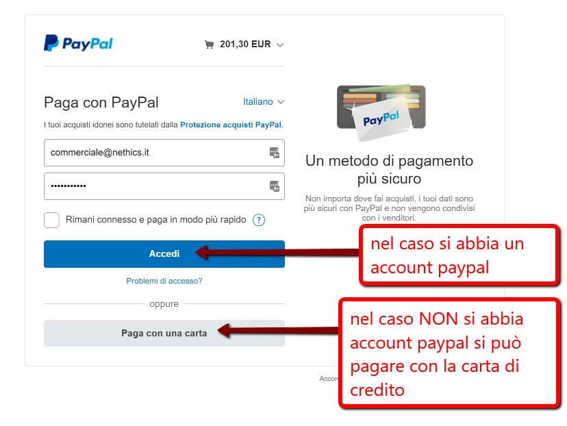 Pagamento con paypal nei siti di ecommerce Nethics