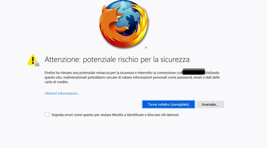 Firefox e i messaggi di errore in caso di sito senza il protocollo di sicurezza